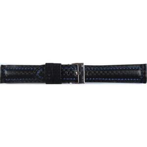 Carbon Echtes Leder Uhrenarmband Carbon mit blauer Ziernaht 22mm