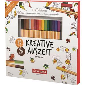 15 STABILO Fineliner Kreative Auszeit Blätterzauber + Malbuch mit 78 Malvorlagen
