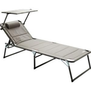Aluminium Gartenliege XXL mit Dach, Dreibeinliege gepolstert mit Quick Dry Foam, grau, 200 x 70 cm