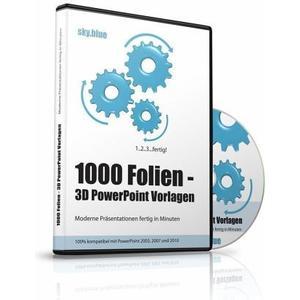 1000 Folien, 3D PowerPoint Vorlagen, Farbe sky.blue (2017), 1 Cd-Rom