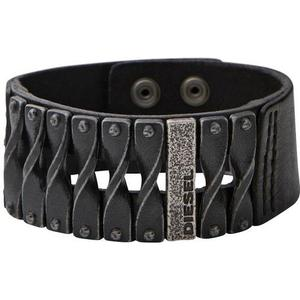 DIESEL Armband Biker Leder schwarz mit Metall DXM0579040