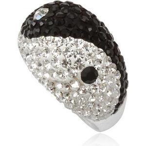 Blue Pearls Kristall-Kuppel-Ring Yin Yang Schwarzwei und Silber 925