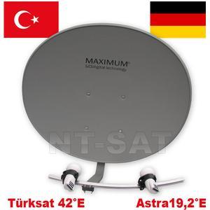 1 Teilnehmer Türksat + Astra Maximum T 85 Multifocus Antenne mit 2 LNB