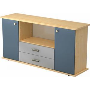Bümö® Sideboard mit Flügeltüren und Schubladen : Ahorn/Blau / Knauf