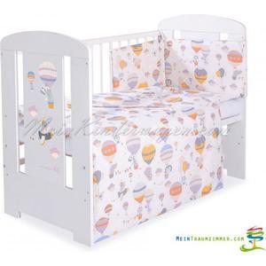 Babybett | Gitterbett | Kinderbett BALLOON GREY | Kiefer massiv | Weiß lackiert