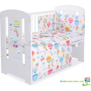 Babybett | Gitterbett | Kinderbett BALLOON | Kiefer massiv | Weiß lackiert