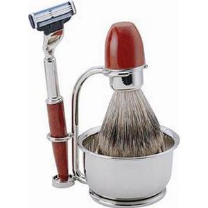 ERBE Shaving Shop Rasiersets Rasier-Set Wurzelholz, Gillette Mach3, 4-teilig 1 Stk.