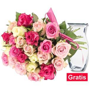 19 pastellfarbene Rosen im Bund mit Vase