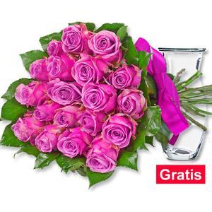 20 pinke Rosen im Bund mit Vase