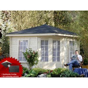 5-Eck-Gartenhaus 299x299cm Holzhaus Bausatz Doppeltr Dachschindeln schwarz