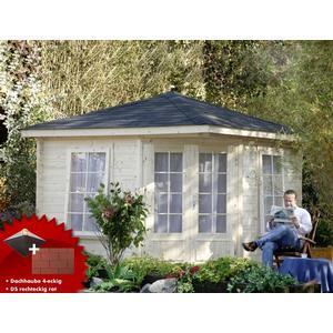 5-Eck-Gartenhaus 299x299cm Holzhaus Bausatz Doppeltr Dachschindeln rot