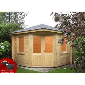 5-Eck-Gartenhaus 300x300cm Holzhaus Bausatz Doppeltr Dachschindeln schwarz