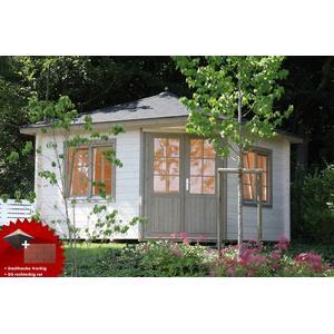 5-Eck-Gartenhaus 360x360cm Holzhaus Bausatz Doppeltr Dachschindeln rot