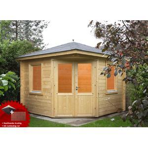 5-Eck-Gartenhaus 300x300cm Holzhaus Bausatz Doppeltr Dachschindeln rot