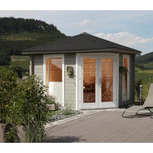 5-Eck-Gartenhaus 300x300cm Holzhaus Bausatz 44mm Doppeltr
