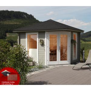 5-Eck-Gartenhaus 300x300cm Holzhaus Bausatz 44mm Doppeltr Dachschindeln rot