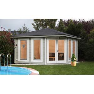5-Eck-Gartenhaus 360x360cm Holzhaus Bausatz 44 Doppeltr Dachschindeln schwarz