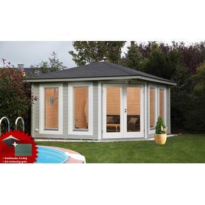 5-Eck-Gartenhaus 360x360 cm Holzhaus Bausatz 44mm Doppeltr Dachschindeln grn