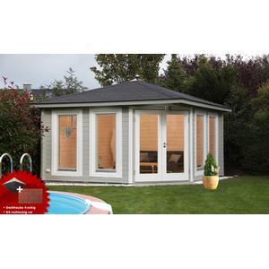 5-Eck-Gartenhaus 360x360 cm Holzhaus Bausatz 44mm Doppeltr Dachschindeln rot