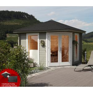 5-Eck-Gartenhaus 300x300cm Holzhaus Bausatz 44 Doppeltr Dachschindeln schwarz