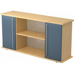 Bümö® Sideboard mit Flügeltüren : Ahorn/Blau / Relinggriff