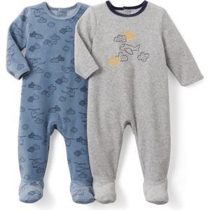 2er-Pack bedruckte Pyjamas aus Samt, 0 Monate-3 Jahre