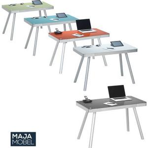 Maja Schreib- und Computertisch Metall Alu Glas