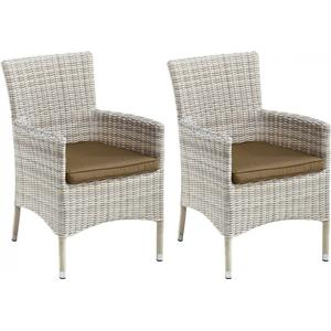 2 Gartenstühle Gartensessel Esstischstühle weiß Polyrattan 7150234