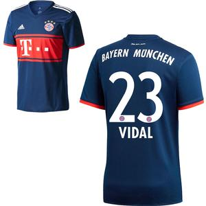 Adidas FC Bayern München Kinder Away Trikot 2017 2018 FCB Auswärtstrikot Arturo Vidal 23 Gr 128
