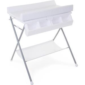 CHILDHOME Faltbarer Wickeltisch mit Badewanne und Wickelauflage Grau Weiß CHTFBG