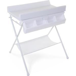 CHILDHOME Faltbarer Wickeltisch mit Badewanne und Wickelauflage Weiß CHTFBW