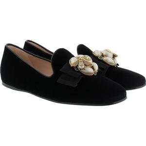 Gucci Ballerinas - Ballerina Velvet Pearls Bee Black - in schwarz - Ballerinas für Damen