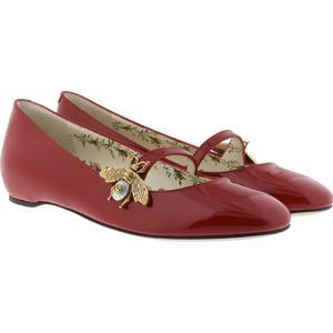 Gucci Ballerinas - Patent Leather Ballet Flat With Bee Red - in rot - Ballerinas für Damen