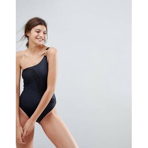 Calvin Klein - Badeanzug mit One-Shoulder-Träger - Schwarz