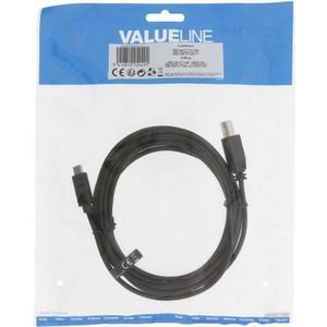 Valueline USB 2.0 Cable Type-C Male - B Male 3 m Black