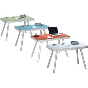 Maja Möbel Schreibtisch »Aue«, weiß, Metall Alu - Weißglas