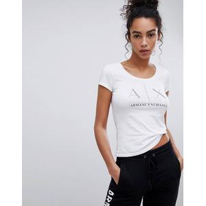 Armani Exchange - Gepunktetes T-Shirt mit U-Ausschnitt und AX-Logo - Weiß