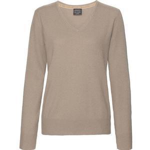 Adagio Damen Seide-Cashmere Pullover, V-Ausschnitt, sand, 36