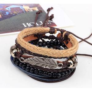 4 Typen Holzperlen Woven  Leder Armband Blatt Anhänger Unisex  Armband Ketten