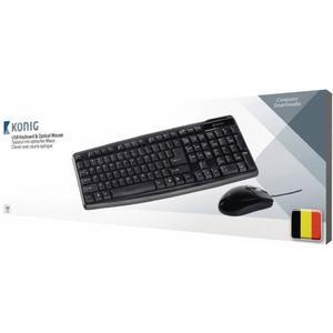 König CSKMCU100BE USB Belgisch Schwarz Tastatur - Tastaturen (Standard, Verkabelt, USB, Schwarz, Mau