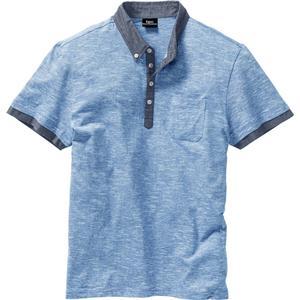 bpc bonprix collection Poloshirt mit gewebtem Kragen kurzer Arm in blau für Herren von bonprix