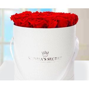 20 rote haltbare Rosen in weier Hutschachtel
