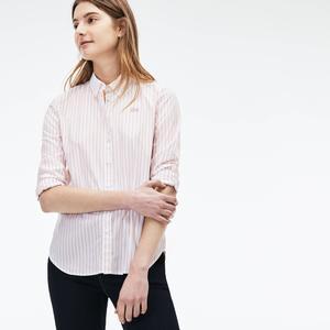 Lacoste Regular Fit Damen-Hemd aus Baumwoll-Popeline mit Streifen - Weiß Size 40