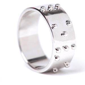 :BRAÏ Jewellery Ring mit Brailleschrift : Oui Dunkel Silber 48