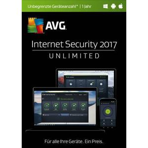 02856 AVG Internet Security 2017 Vollversion, unbegrenzte Geräteanzahl Windows, Android, Mac Sicherheits-