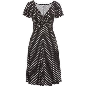 BODYFLIRT Shirtkleid kurzer Arm in schwarz (V-Ausschnitt) für Damen von bonprix