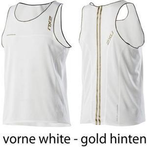 2XU Elite Run Singlet Men Laufshirt Herren Sonderpreis ,Größe: s, Farbe: White