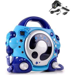 Kinder Karaoke CD Player mit 2 Mikrofonen und Netzteil