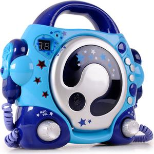 Karaoke CD Player in blau mit 2 Mikrofonen für Kinder