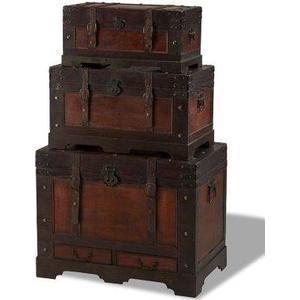 3er Truhenset KIRAS in braun Holztruhe Möbeltruhe Truhe Kiste Rustikal